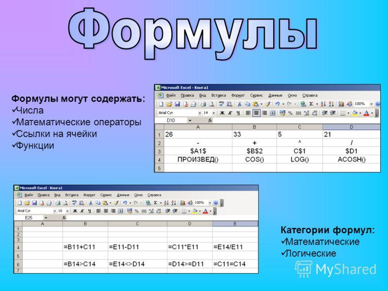 Формулы могут содержать: Числа Математические операторы Ссылки на ячейки Функции Категории формул: Математические Логические