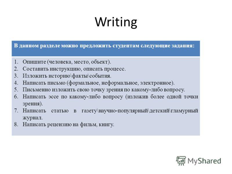 Writing В данном разделе можно предложить студентам следующие задания: 1.Опишите (человека, место, объект). 2.Составить инструкцию, описать процесс. 3.Изложить историю\факты\события. 4.Написать письмо (формальное, неформальное, электронное). 5.Письме