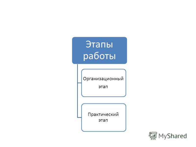 Этапы работы Организационный этап Практический этап