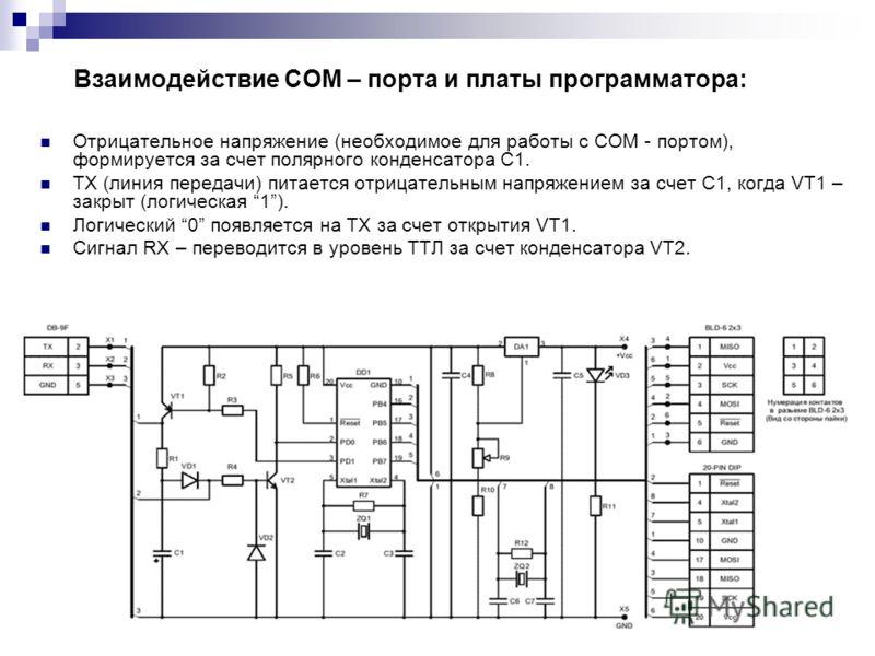 Взаимодействие COM – порта и платы программатора: Отрицательное напряжение (необходимое для работы с COM - портом), формируется за счет полярного конденсатора C1. ТХ (линия передачи) питается отрицательным напряжением за счет C1, когда VT1 – закрыт (