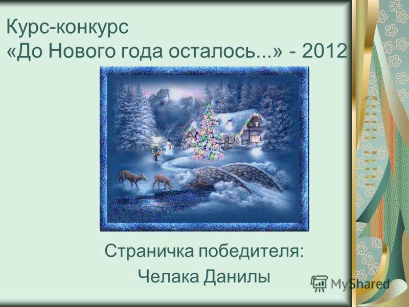 Курс-конкурс «До Нового года осталось...» - 2012 Страничка победителя: Челака Данилы