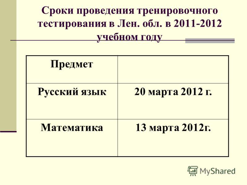 Сроки проведения тренировочного тестирования в Лен. обл. в 2011-2012 учебном году Предмет Русский язык20 марта 2012 г. Математика13 марта 2012г.