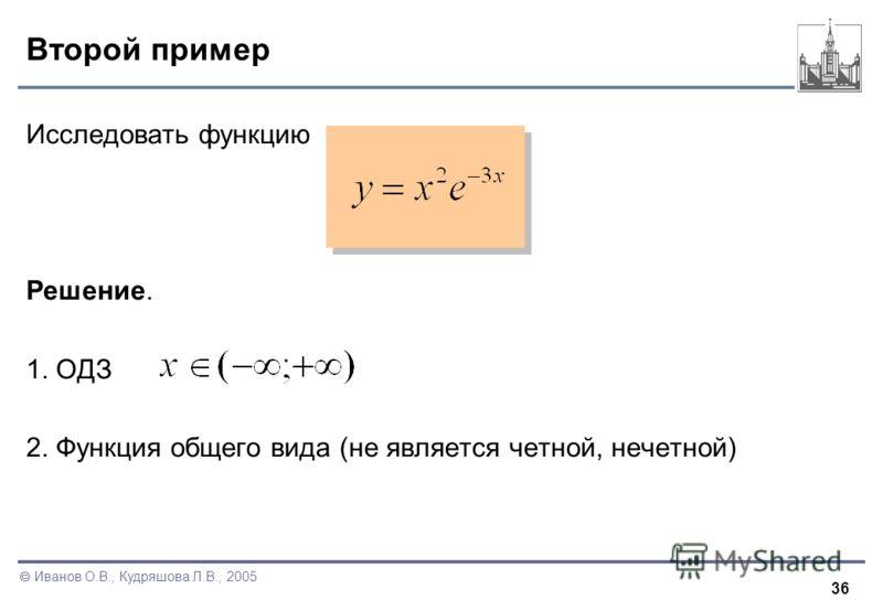 36 Иванов О.В., Кудряшова Л.В., 2005 Второй пример Исследовать функцию Решение. 1. ОДЗ 2. Функция общего вида (не является четной, нечетной)