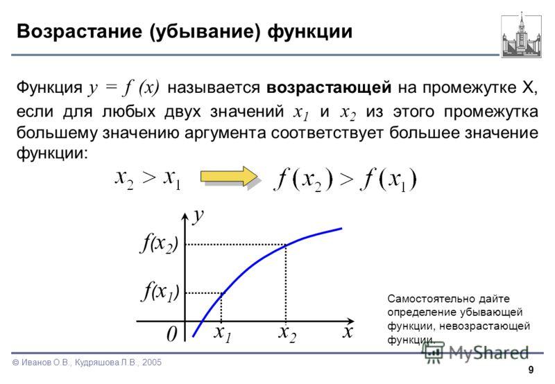 9 Иванов О.В., Кудряшова Л.В., 2005 Возрастание (убывание) функции Функция y = f (x) называется возрастающей на промежутке X, если для любых двух значений x 1 и x 2 из этого промежутка большему значению аргумента соответствует большее значение функци
