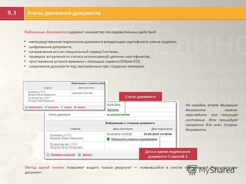 9.1 Этапы движения документа Статус документа Дата и время подписания документа Стороной 1 На каждом этапе движения документа можно проследить его текущее состояние. Эта процедура прозрачна для всех Сторон документа. Метод одной кнопки позволяет виде