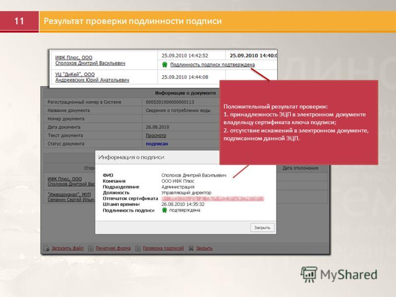 11 Результат проверки подлинности подписи Положительный результат проверки: 1. принадлежность ЭЦП в электронном документе владельцу сертификата ключа подписи; 2. отсутствие искажений в электронном документе, подписанном данной ЭЦП.