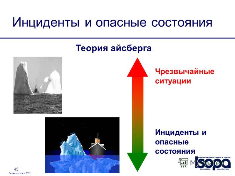Редакция Март 2012 45 Инциденты и опасные состояния Теория айсберга Инциденты и опасные состояния Чрезвычайные ситуации
