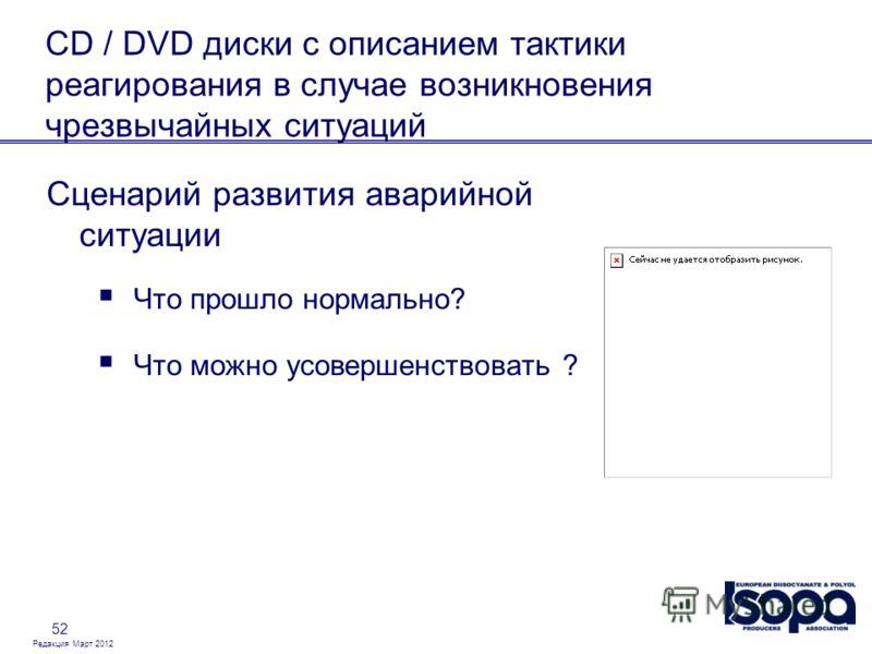 Редакция Март 2012 52 CD / DVD диски с описанием тактики реагирования в случае возникновения чрезвычайных ситуаций Сценарий развития аварийной ситуации Что прошло нормально? Что можно усовершенствовать ?