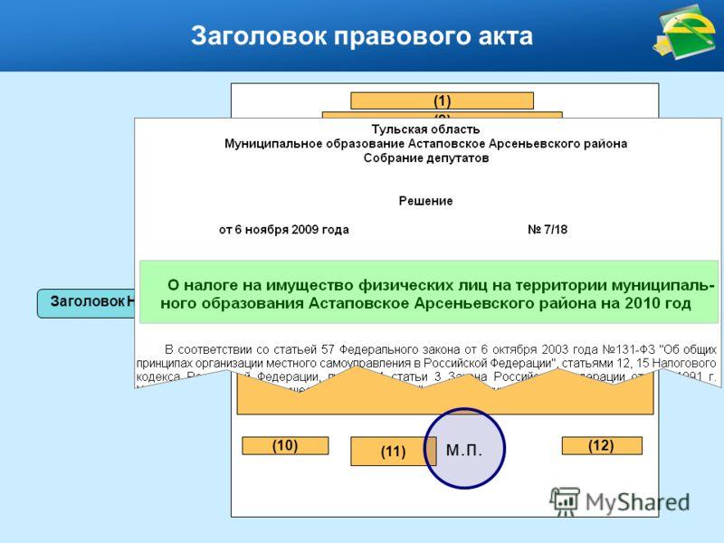 (8) Заголовок правового акта (1) (2) (3) (5) (6)(7) (9) (10) (11) м.п. (12) Заголовок НПА