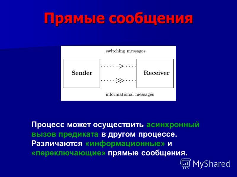 Прямые сообщения Процесс может осуществить асинхронный вызов предиката в другом процессе. Различаются «информационные» и «переключающие» прямые сообщения.