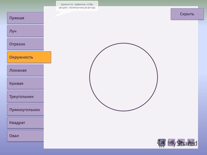 Прямая Луч Окружность Ломаная Кривая Треугольник Прямоугольник Квадрат Овал Щелкни по названию, чтобы увидеть геометрическую фигуру Скрыть Отрезок