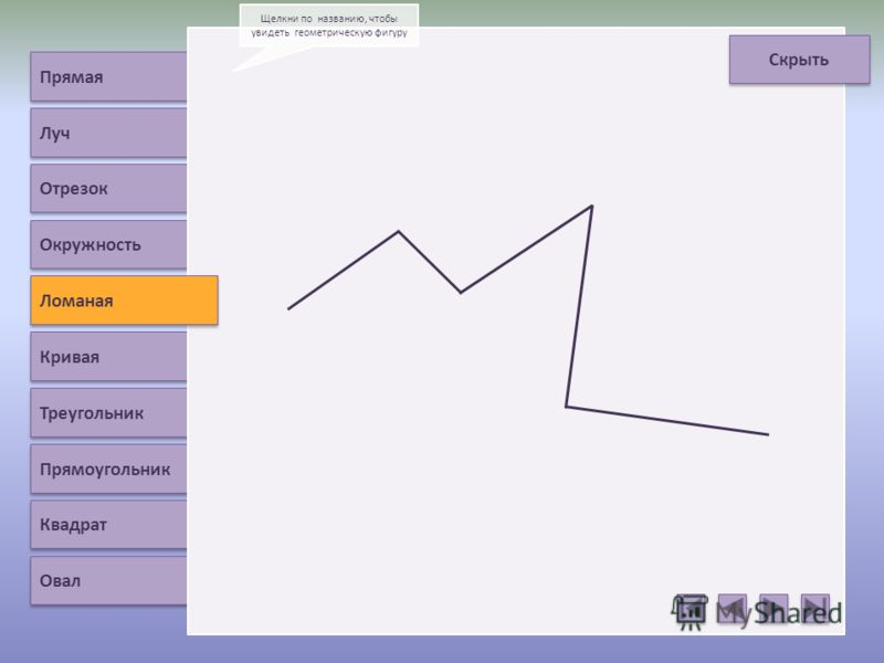 Прямая Луч Отрезок Ломаная Кривая Треугольник Прямоугольник Квадрат Овал Щелкни по названию, чтобы увидеть геометрическую фигуру Скрыть Окружность