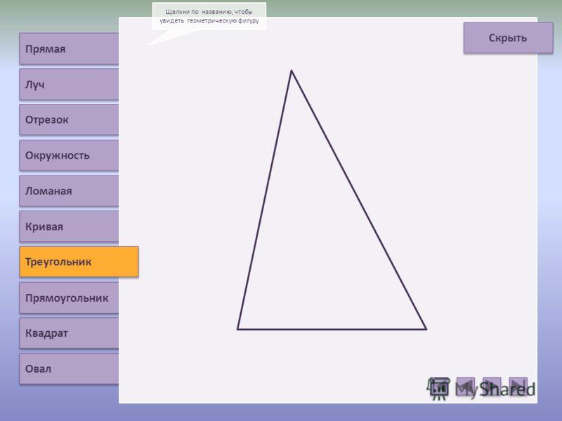 Прямая Луч Отрезок Окружность Ломаная Треугольник Прямоугольник Квадрат Овал Щелкни по названию, чтобы увидеть геометрическую фигуру Скрыть Кривая