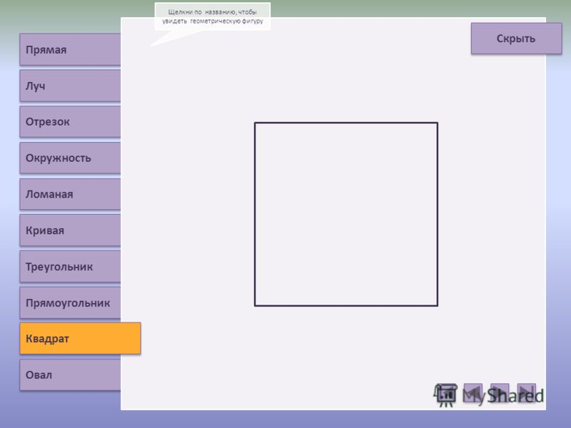 Прямая Луч Отрезок Окружность Ломаная Кривая Треугольник Квадрат Овал Щелкни по названию, чтобы увидеть геометрическую фигуру Скрыть Прямоугольник