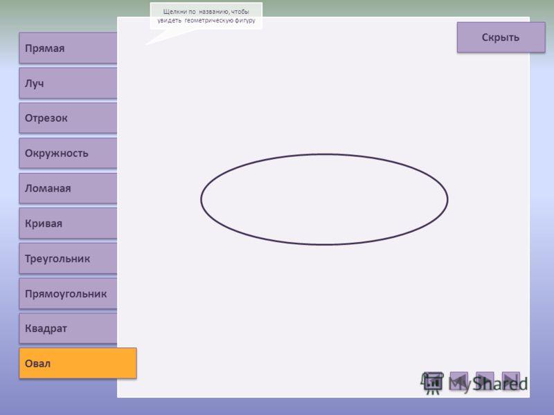 Прямая Луч Отрезок Окружность Ломаная Кривая Треугольник Прямоугольник Овал Щелкни по названию, чтобы увидеть геометрическую фигуру Квадрат Скрыть