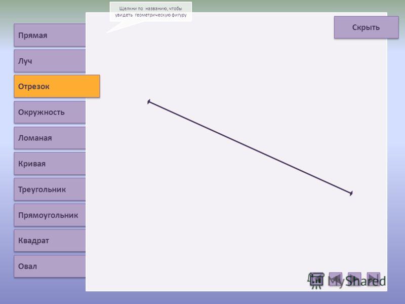 Отрезок Окружность Ломаная Кривая Треугольник Прямоугольник Квадрат Овал Щелкни по названию, чтобы увидеть геометрическую фигуру Скрыть Луч