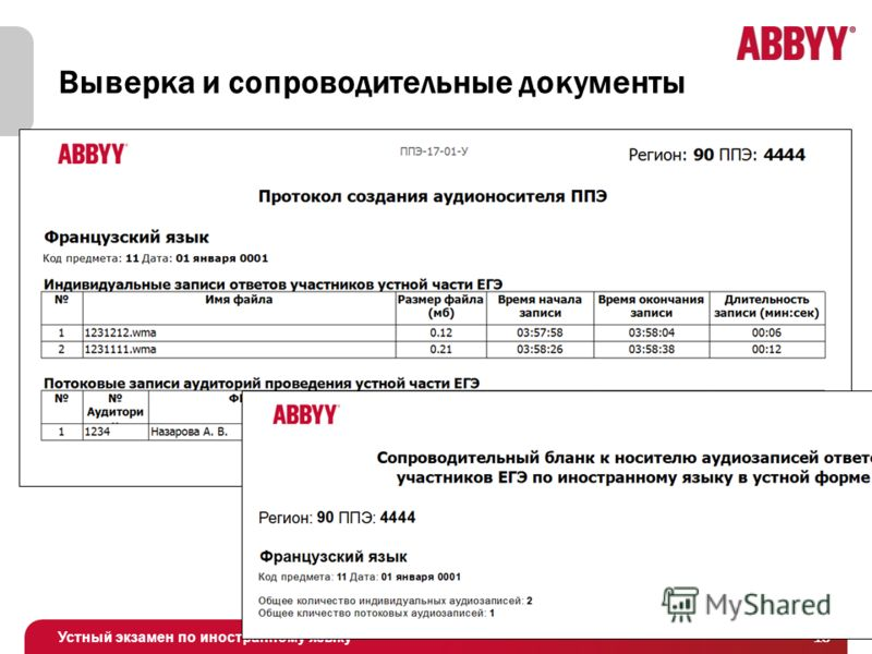 Устный экзамен по иностранному языку Выверка и сопроводительные документы 16