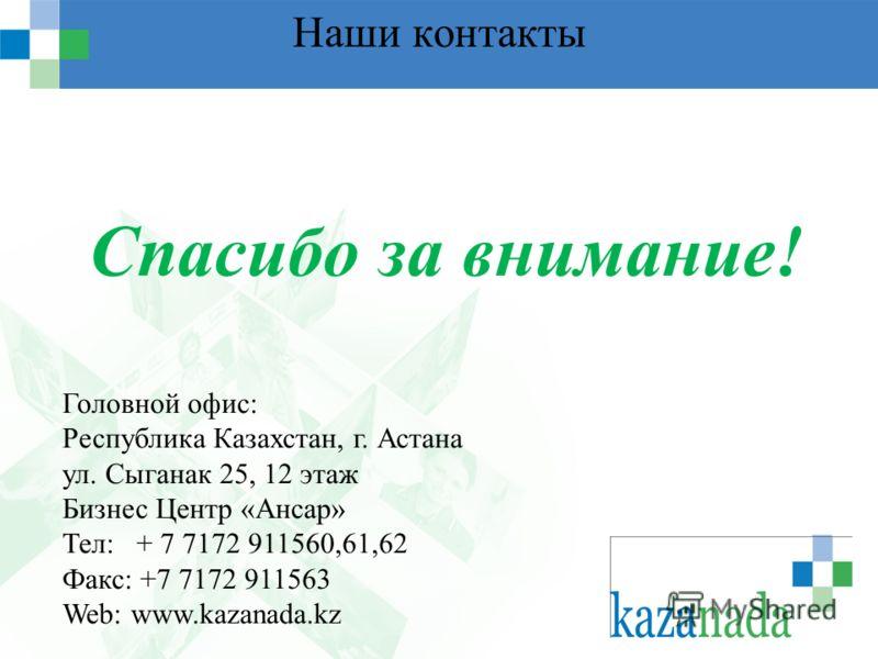 Наши контакты Спасибо за внимание! Головной офис: Республика Казахстан, г. Астана ул. Сыганак 25, 12 этаж Бизнес Центр «Ансар» Тел: + 7 7172 911560,61,62 Факс: +7 7172 911563 Web: www.kazanada.kz