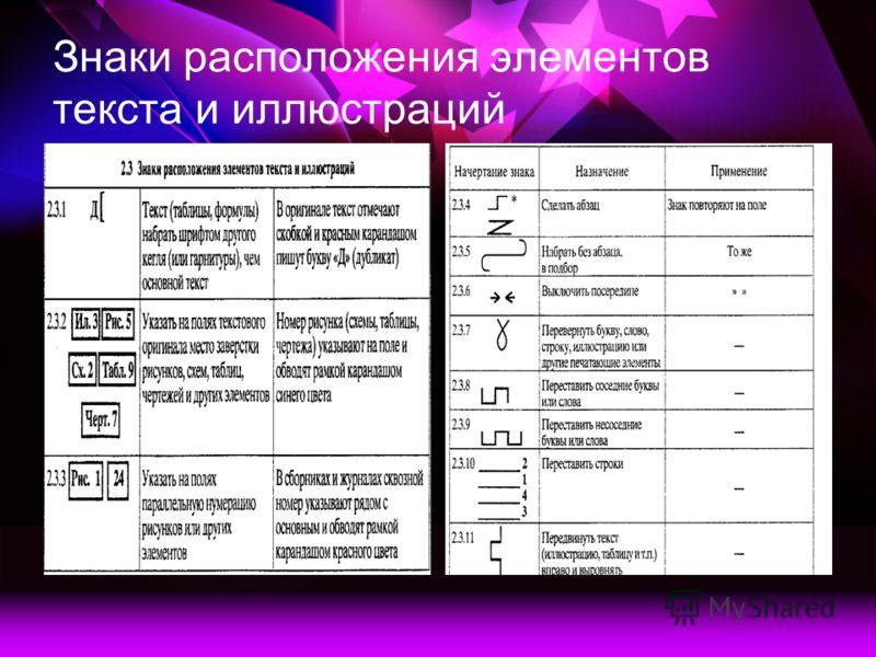 Знаки расположения элементов текста и иллюстраций