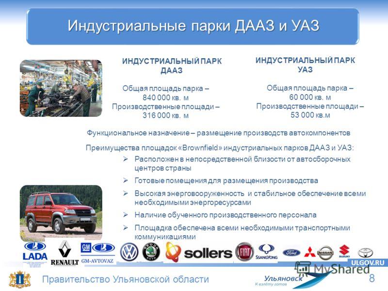 8 Правительство Ульяновской области ULGOV.RU Индустриальные парки ДААЗ и УАЗ Расположен в непосредственной близости от автосборочных центров страны Готовые помещения для размещения производства Высокая энерговооруженность и стабильное обеспечение все