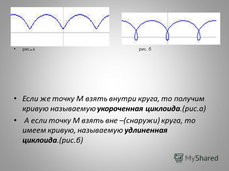 рис. а рис. б Если же точку М взять внутри круга, то получим кривую называемую укороченная циклоида.(рис.а) А если точку М взять вне –(снаружи) круга, то имеем кривую, называемую удлиненная циклоида.(рис.б)