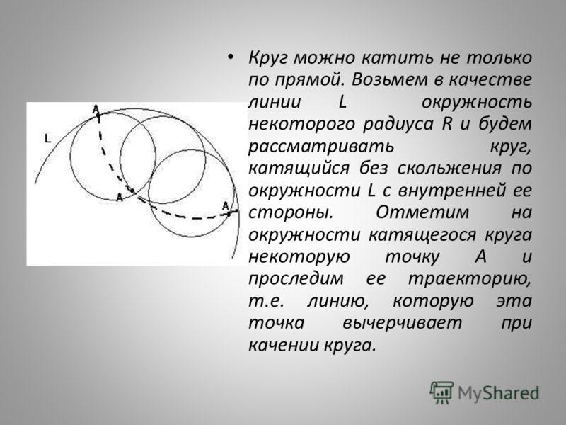 Круг можно катить не только по прямой. Возьмем в качестве линии L окружность некоторого радиуса R и будем рассматривать круг, катящийся без скольжения по окружности L с внутренней ее стороны. Отметим на окружности катящегося круга некоторую точку А и