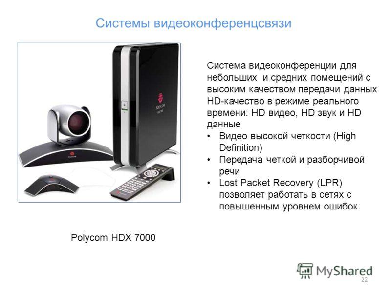 22 Polycom HDX 7000 Система видеоконференции для небольших и средних помещений с высоким качеством передачи данных HD-качество в режиме реального времени: HD видео, HD звук и HD данные Видео высокой четкости (High Definition) Передача четкой и разбор