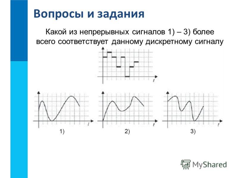 Вопросы и задания Какой из непрерывных сигналов 1) – 3) более всего соответствует данному дискретному сигналу 1)2)3)
