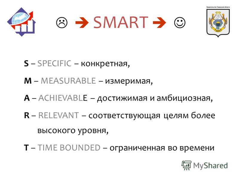 S – SPECIFIC – конкретная, M – MEASURABLE – измеримая, A – ACHIEVABLE – достижимая и амбициозная, R – RELEVANT – соответствующая целям более высокого уровня, T – TIME BOUNDED – ограниченная во времени SMART