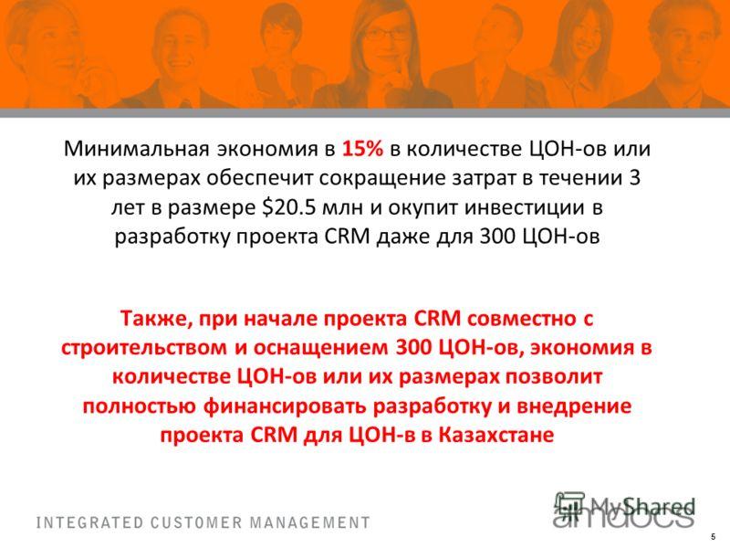 5 Минимальная экономия в 15% в количестве ЦОН-ов или их размерах обеспечит сокращение затрат в течении 3 лет в размере $20.5 млн и окупит инвестиции в разработку проекта CRM даже для 300 ЦОН-ов Также, при начале проекта CRM совместно с строительством