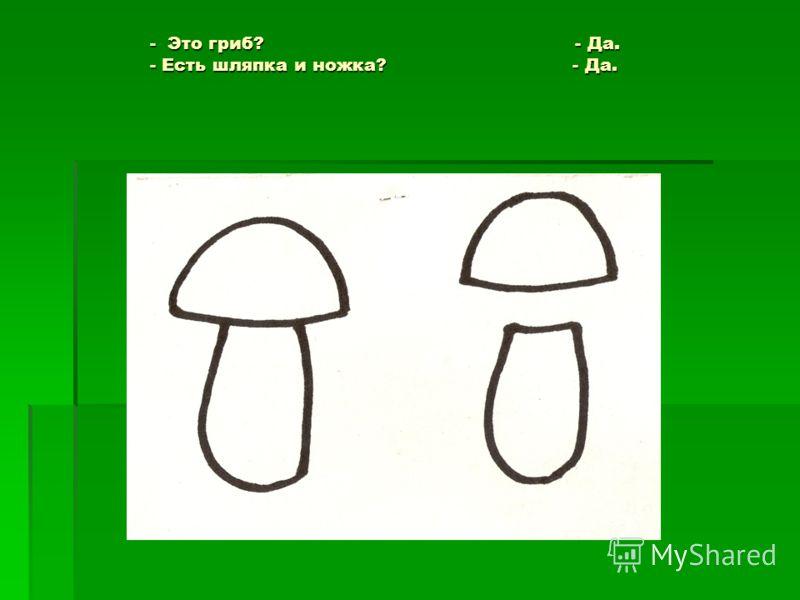 - Это гриб? - Да. - Есть шляпка и ножка? - Да. - Это гриб? - Да. - Есть шляпка и ножка? - Да.