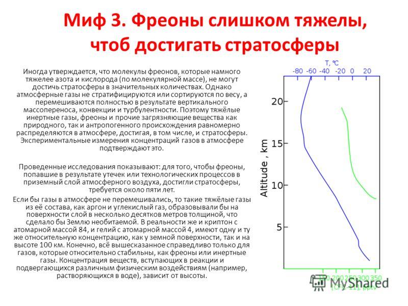 Миф 3. Фреоны слишком тяжелы, чтоб достигать стратосферы Иногда утверждается, что молекулы фреонов, которые намного тяжелее азота и кислорода (по молекулярной массе), не могут достичь стратосферы в значительных количествах. Однако атмосферные газы не