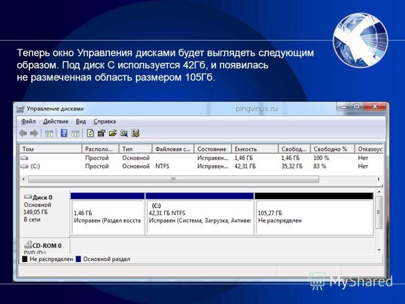 Теперь окно Управления дисками будет выглядеть следующим образом. Под диск C используется 42Гб, и появилась не размеченная область размером 105Гб.