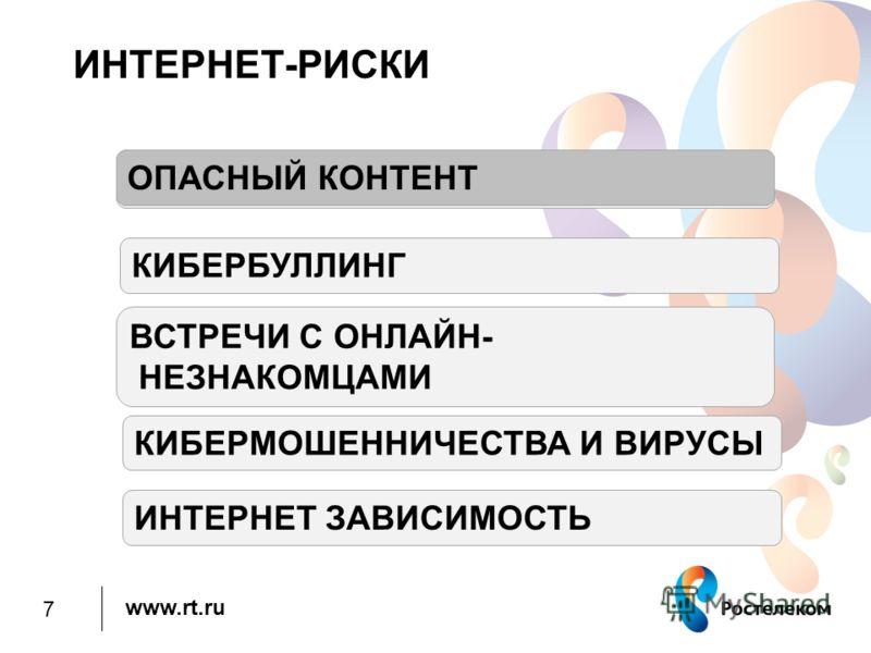 www.rt.ru ИНТЕРНЕТ-РИСКИ ОПАСНЫЙ КНТЕНТ КИБЕРБУЛЛИНГ ВСТРЕЧИ С ОНЛАЙН- НЕЗНАКОМЦАМИ КИБЕРМОШЕННИЧЕСТВА И ВИРУСЫ ИНТЕРНЕТ ЗАВИСИМОСТЬ ОПАСНЫЙ КОНТЕНТ 7