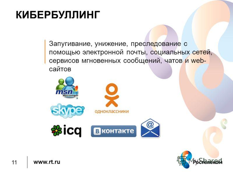 www.rt.ru КИБЕРБУЛЛИНГ Запугивание, унижение, преследование с помощью электронной почты, социальных сетей, сервисов мгновенных сообщений, чатов и web- сайтов 11