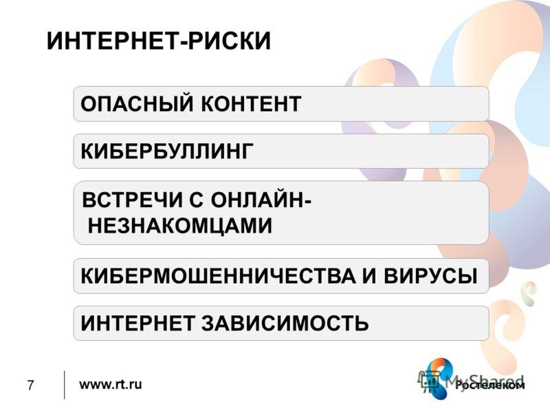 www.rt.ru ИНТЕРНЕТ-РИСКИ ОПАСНЫЙ КОНТЕНТ КИБЕРБУЛЛИНГ ВСТРЕЧИ С ОНЛАЙН- НЕЗНАКОМЦАМИ КИБЕРМОШЕННИЧЕСТВА И ВИРУСЫ ИНТЕРНЕТ ЗАВИСИМОСТЬ 7