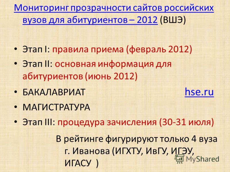 Мониторинг прозрачности сайтов российских вузов для абитуриентов – 2012Мониторинг прозрачности сайтов российских вузов для абитуриентов – 2012 (ВШЭ) Этап I: правила приема (февраль 2012) Этап II: основная информация для абитуриентов (июнь 2012) БАКАЛ