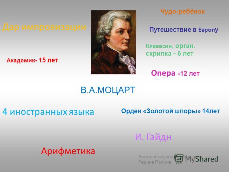 Результат работы: Биографы: презентация по творчеству композитора В.А. Моцарта, опорный конспект; Музыканты: составленная музыкальная коллекция из произведений автора (диск); Исследователи: исследование о влиянии музыки В.А. Моцарта на центральную не