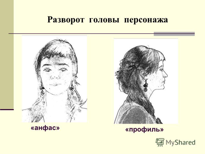 Разворот головы персонажа «анфас» «профиль»