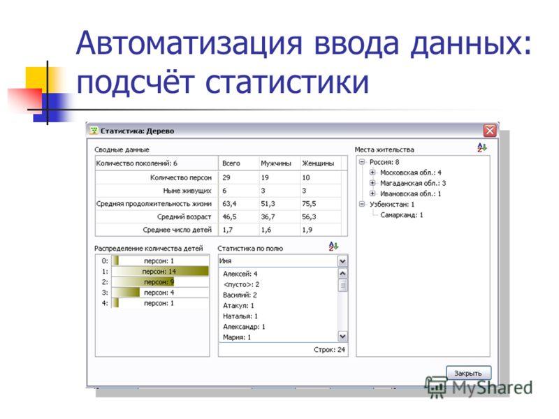 Автоматизация ввода данных: подсчёт статистики