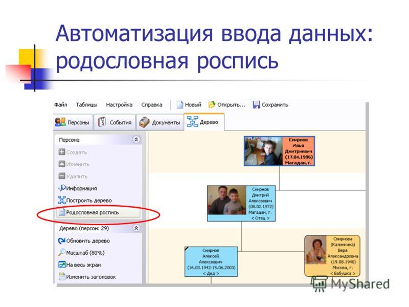 Автоматизация ввода данных: родословная роспись