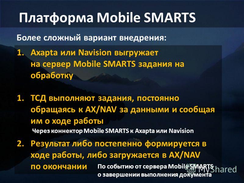 Более сложный вариант внедрения: 1.Axapta или Navision выгружает на сервер Mobile SMARTS задания на обработку 1.ТСД выполняют задания, постоянно обращаясь к AX/NAV за данными и сообщая им о ходе работы 2.Результат либо постепенно формируется в ходе р