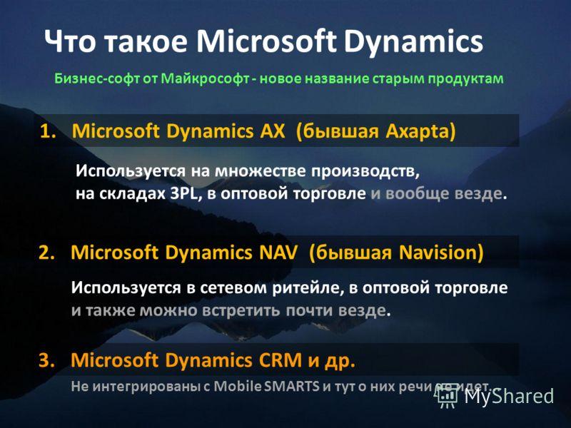 Что такое Microsoft Dynamics 1.Microsoft Dynamics AX (бывшая Axapta) 2.Microsoft Dynamics NAV (бывшая Navision) Используется в сетевом ритейле, в оптовой торговле и также можно встретить почти везде. Используется на множестве производств, на складах