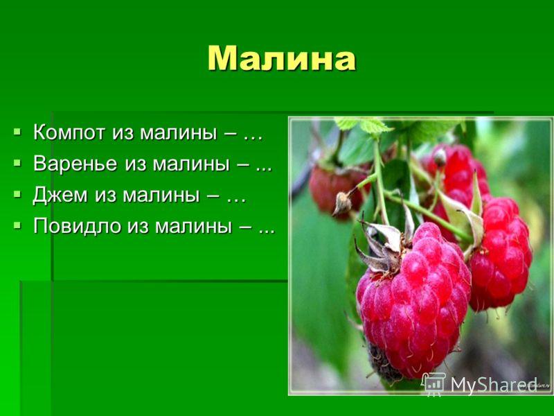 Малина Компот из малины – … Компот из малины – … Варенье из малины –... Варенье из малины –... Джем из малины – … Джем из малины – … Повидло из малины –... Повидло из малины –...