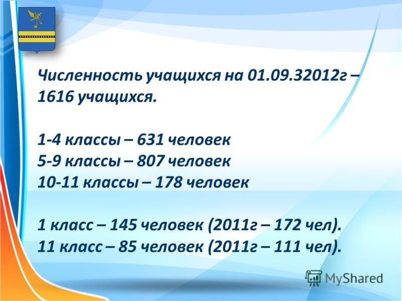 Численность учащихся на 01.09.32012г – 1616 учащихся. 1-4 классы – 631 человек 5-9 классы – 807 человек 10-11 классы – 178 человек 1 класс – 145 человек (2011г – 172 чел). 11 класс – 85 человек (2011г – 111 чел).