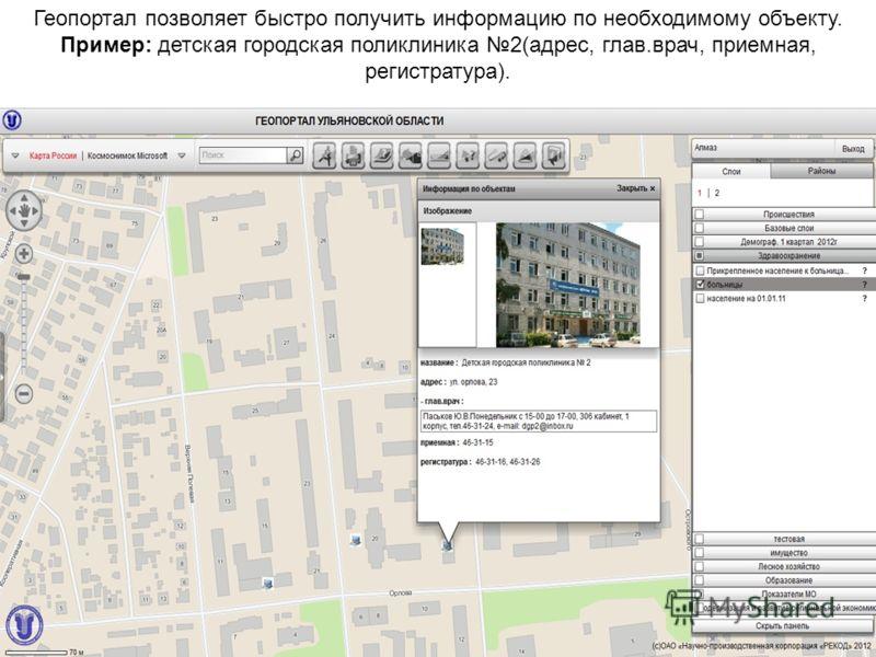 Геопортал позволяет быстро получить информацию по необходимому объекту. Пример: детская городская поликлиника 2(адрес, глав.врач, приемная, регистратура).
