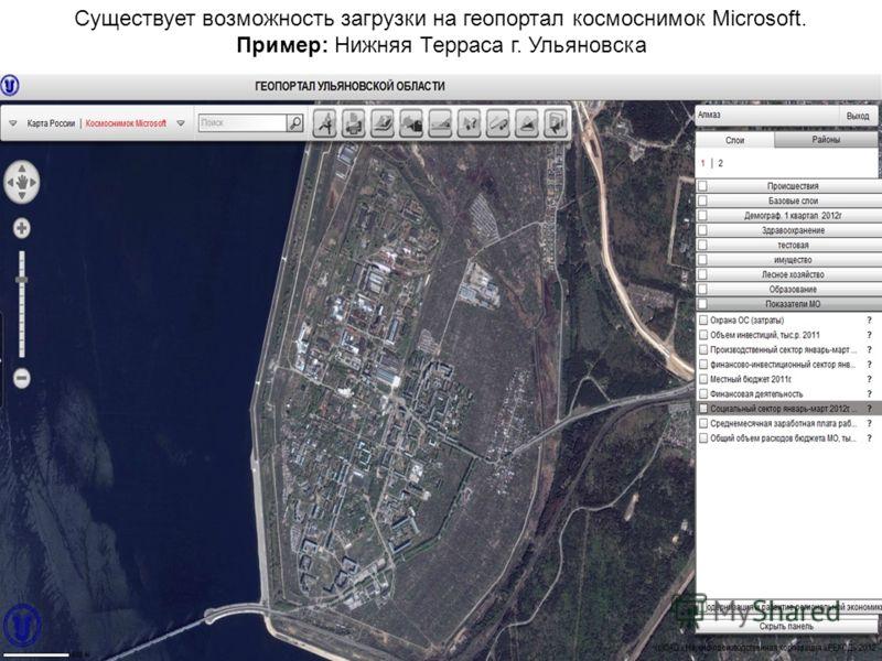 Существует возможность загрузки на геопортал космоснимок Microsoft. Пример: Нижняя Терраса г. Ульяновска
