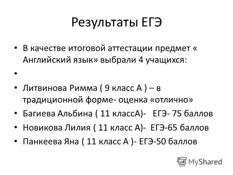 Результаты ЕГЭ В качестве итоговой аттестации предмет « Английский язык» выбрали 4 учащихся: Литвинова Римма ( 9 класс А ) – в традиционной форме- оценка «отлично» Багиева Альбина ( 11 классА)- ЕГЭ- 75 баллов Новикова Лилия ( 11 класс А)- ЕГЭ-65 балл