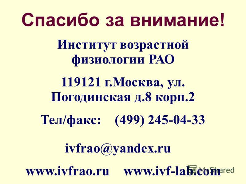 Спасибо за внимание! Институт возрастной физиологии РАО 119121 г.Москва, ул. Погодинская д.8 корп.2 Тел/факс: (499) 245-04-33 ivfrao@yandex.ru www.ivfrao.ru www.ivf-lab.com