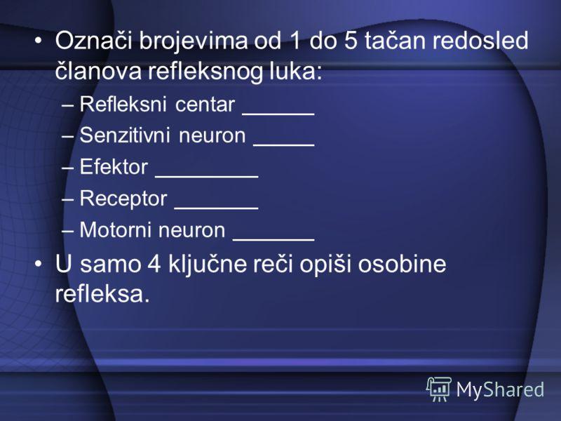 Označi brojevima od 1 do 5 tačan redosled članova refleksnog luka: –Refleksni centar –Senzitivni neuron –Efektor –Receptor –Motorni neuron U samo 4 ključne reči opiši osobine refleksa.
